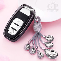 Creative Gift Crystal Auto Sleutelhanger + TPU Auto Styling Key Cover Case Voor Audi A4 S4 B7 B8 A6 A5 A7 A8 Q5 S5 S6 Q7 Auto-accessoires
