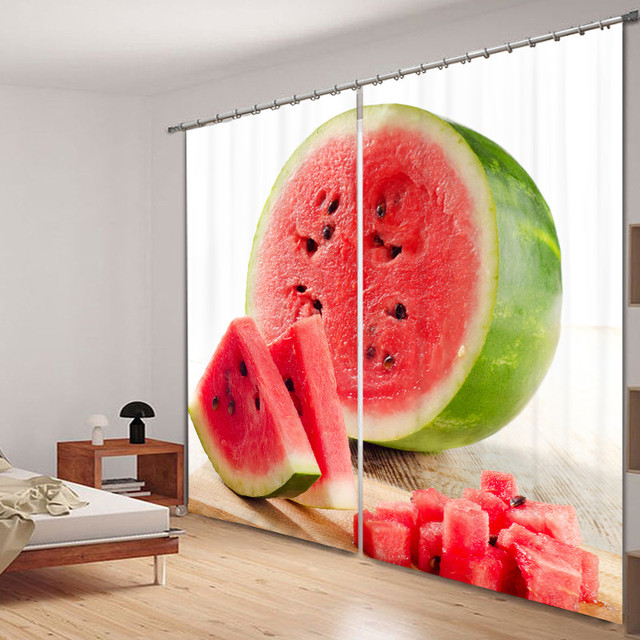 Modern Luxury watermelon 3D Blackout Window Curtains For kids Bedding room Living room Hotel Drapes Cortinas