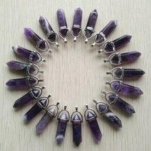 24 cái/lốc Bán Buôn Fahsion bán chạy nhất đá Tự Nhiên Charms Lục Giác healing Reiki Point mặt dây đối với trang sức làm miễn phí
