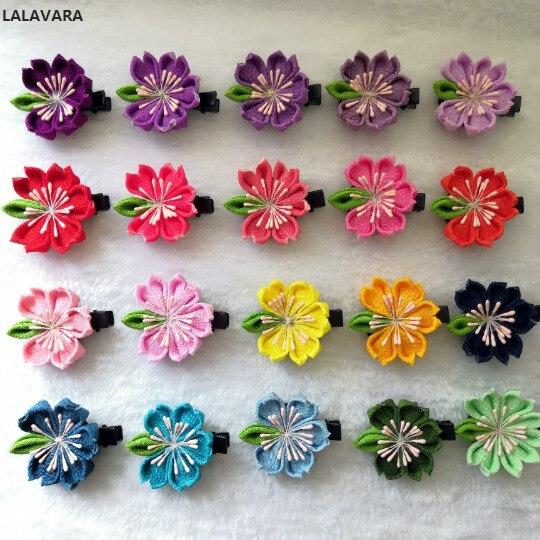 LALAVARA 40pcs custom made Asian traditional hair flower kanzashi children girls sakura clips