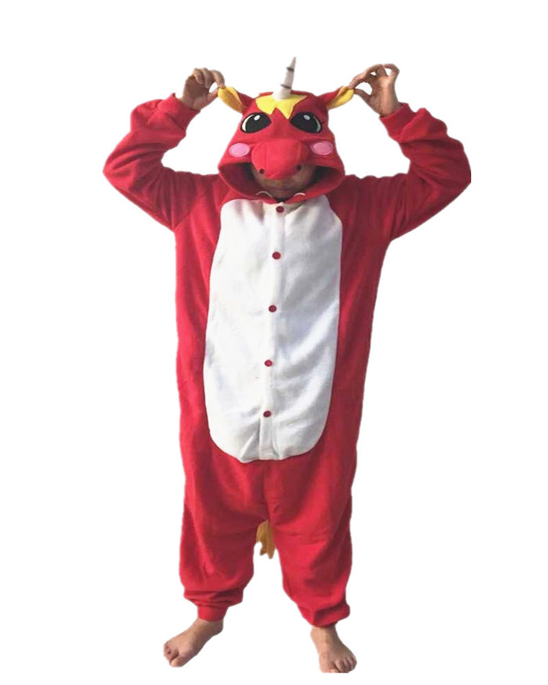 Red Mythological Animals Adult Ladies Onesie Novel Costumes Chinese Market Online Nightgowns Women Sleepwear Long Sleeve Size