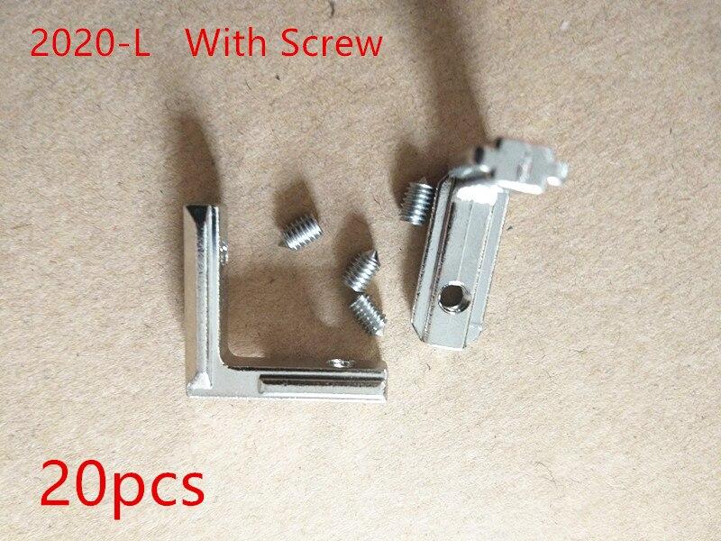цена на 20pcs T Slot L-Shape 2020 Aluminum Profile Interior Corner Connector Joint Bracket for 2020 Alu-profile with screw