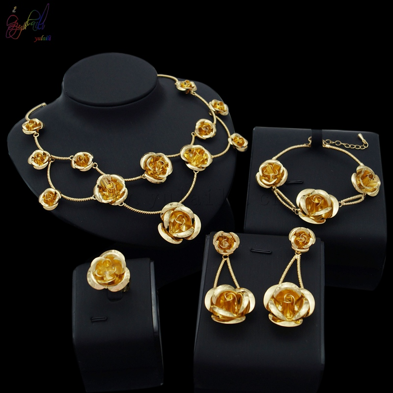Yulaili Free Delivery 2017 Rose Design Alloy Pure Gold Color Women Costume Four Jewelry Sets yulaili free delivery hot sell factory ethiopia design copper alloy four pieces ladies big jewelry sets