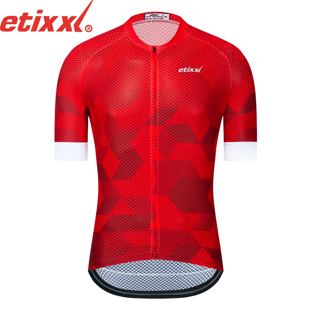ETIXXL 2019 NEW Bright red Top Quality Short sleeve cycling jersey pro team aero cut with Newest Seamless process road mtb