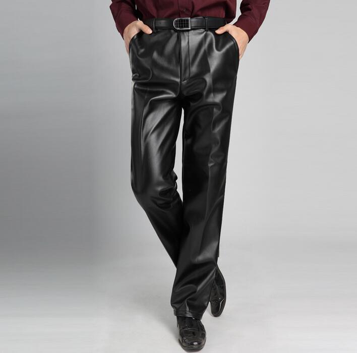 Más La Negro Cintura De Primavera Masculino Alta Pantalones Pu Tamaño Motocicleta Recta Y Cuero Otoño Hombre Suelta El Moda vUOxwq