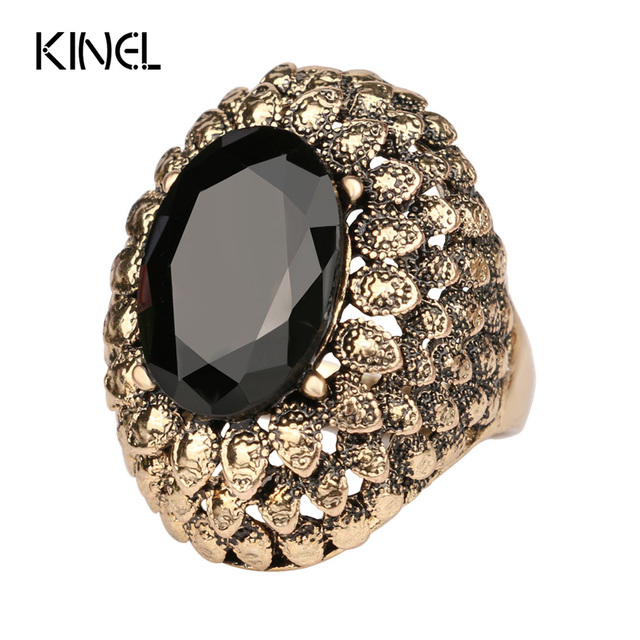 LY Vintage Jewelry Punk Big Ring Black Friday Cheap Sell Color Ancient Gold Ring