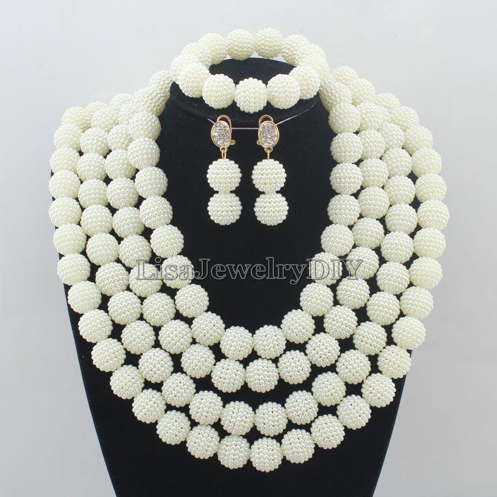 Splendid African Beads Jewelry Sets Nigerian Wedding African Crystal Beads Jewelry Set HD6682