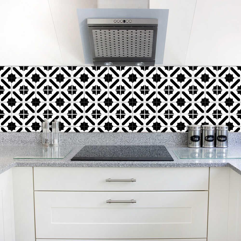 Funlife 15 15 センチメートル センチメートル自己接着壁の芸術壁紙家具 Diy の黒と白モロッコタイルステッカー壁デカール Sticker Wall Decal Wall Decalsfurniture Diy Gooum