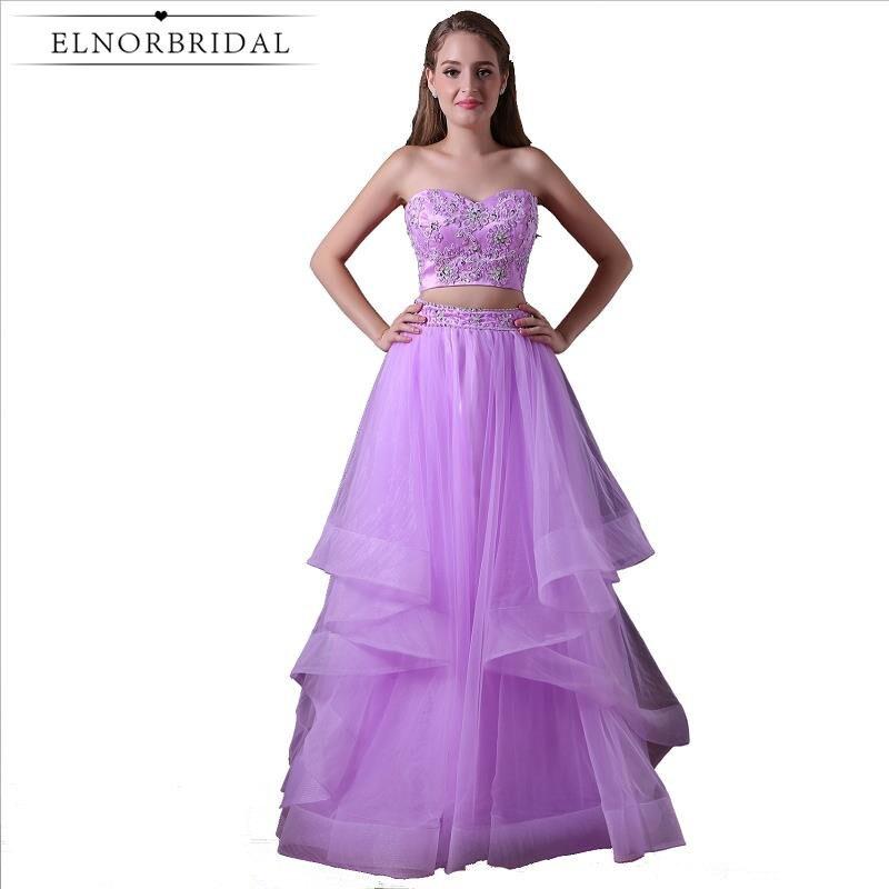 Light Purple 2 Piece Prom Dresses 2019 Sweetheart Vestidos ...