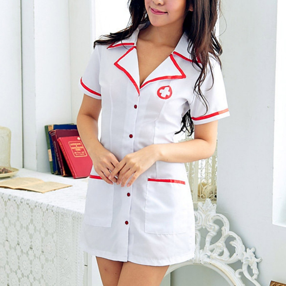 Hot Sale Sexy Costumes Women Sexy Nurse Cosplay Costume With Button Erotic Uniform Temptation Comfortable Nightdress Pajamas