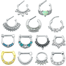 Stainless Steel Septum Nose Rings with Cubic Zirconia for Women 16g Bar Clicker Studs Fashion Piercing Jewelry