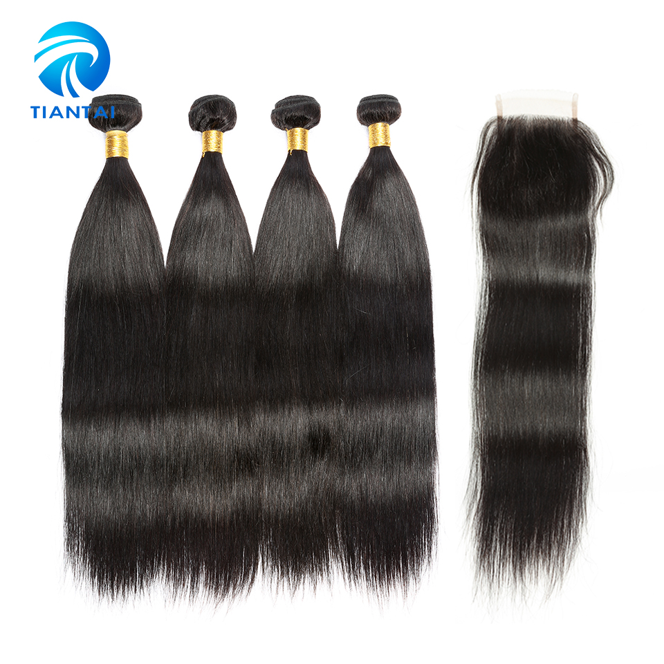 Straight Human Hair 4 Bundles with Closure 4x4 Lace Closure with Bundles Peruvian Remy Hair Nature