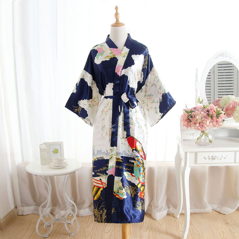 Plus Size Womens Kimono Long Robe Bath Gown Nightgown Navy Blue Spring Summer Faux Silk Sleepshirts Sleepwear Pijama Mujer My001