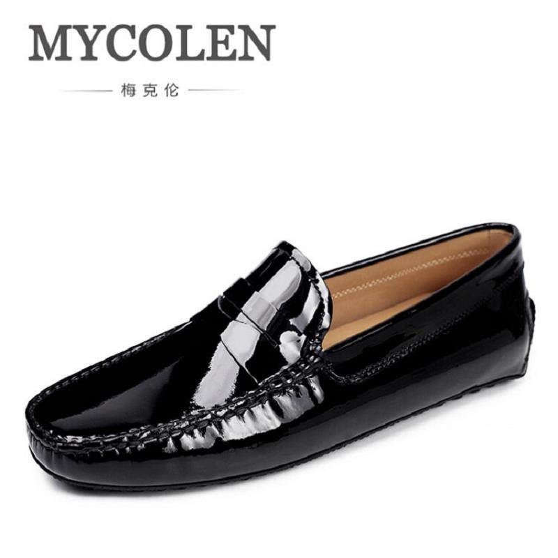 MYCOLEN Brand Men Shoes 2017 Classic Designed Black Patent Leather Mens Shoes Loafers Men Party And Wedding Loafers Men Flats 2018the new women s patent leather and shoes classic korean version of the classic korean shoes red wedding shoes