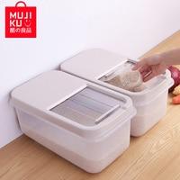 MUJIKU Japanese Plastic Rice Barrel 10kg Moisture proof Kitchen Transparent Rice Box Home installed Rice Flour Cylinder Box