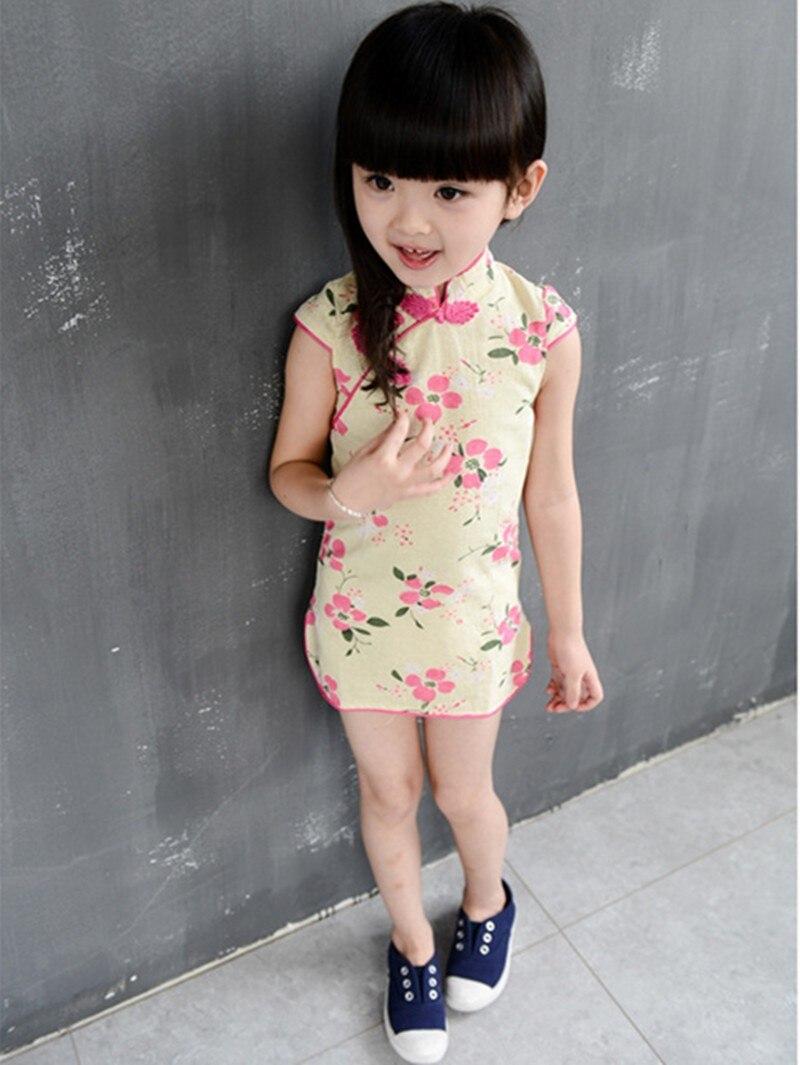 53de30df991c Hot sale 2018 summer new fashion girls Chinese style cheongsam dress baby  Lotus Print collar short-sleeved dress Vestidos