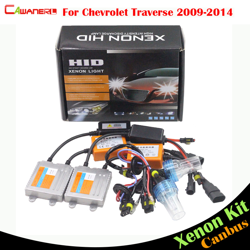 Cawanerl 55W Car Canbus HID Xenon Kit AC Headlight Low Beam For Chevrolet Traverse 2009-2014 (1 Pair Ballast + 1 Pair Bulb)