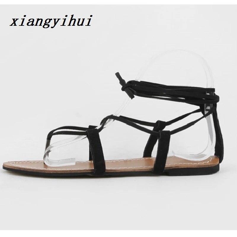 Korean Style 2018 Summer Women Sandals Open Toe Flip Flops Womens Flat Sandles with Low Women Shoes Gladiator Shoes