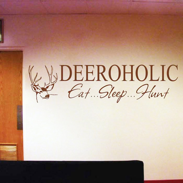 Deer Deeroholic Eat Sleep Hunt Waterproof Wall Decal Stickers Home Decor Family Kids For Living Room