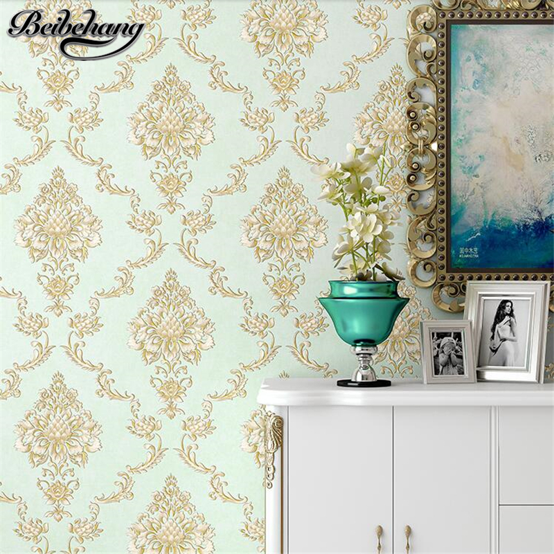 beibehang Simple European non-woven wallpaper 3d stereo carved living room bedroom green wallpaper TV background wall paper beibehang new children room wallpaper cartoon non woven striped wallpaper basketball football boy bedroom background wall paper