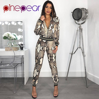 PinePear Snake Print Jacket and Pants Set Tracksuit 2019 Winter Women Fashion Casual Snakeskin Sweatsuit Drop Shipping Wholesale