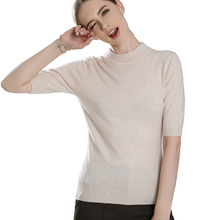 2018 Women's Real 100% Cashmere High Ribbed O-neck Tshirt Short Sleeve Knitted Pullover Base Tee Cashmere Sweater Women Jumper