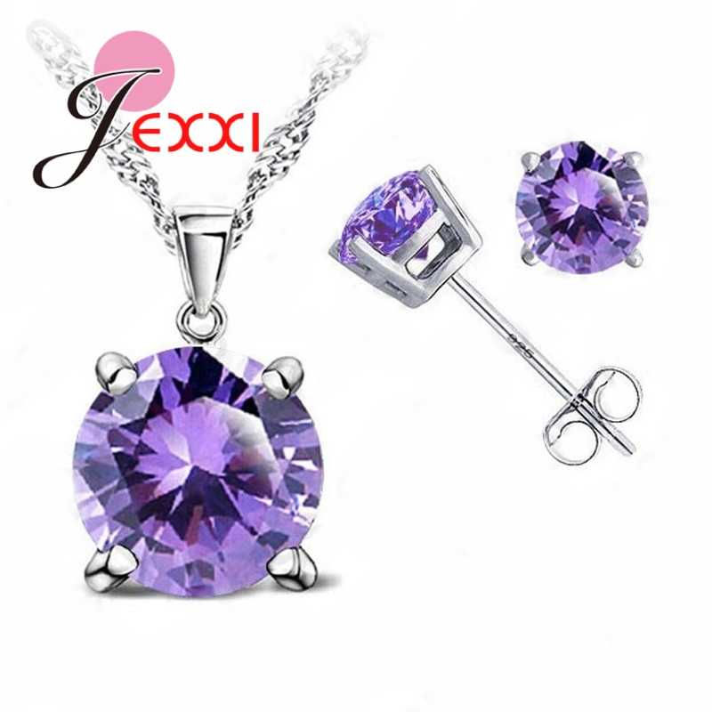 8 Colors 925 Sterling Silver Wedding Elegant Jewelry Sets Crystal Pendant Collar Necklace Earrings Women Decoration Set