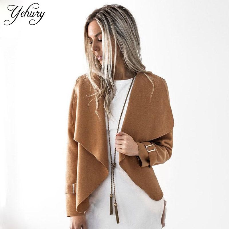Yehury Autumn Winter 2017 Fashion Femal Top Turn down Collar Long Sleeve Cardigan Woolen Coat Solid