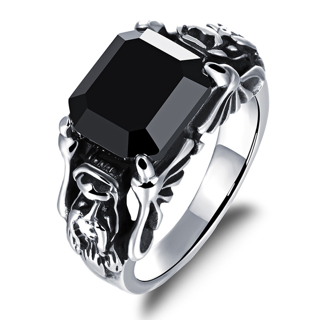 Stainless steel mens rings black cz crystal jewelry punk men ring