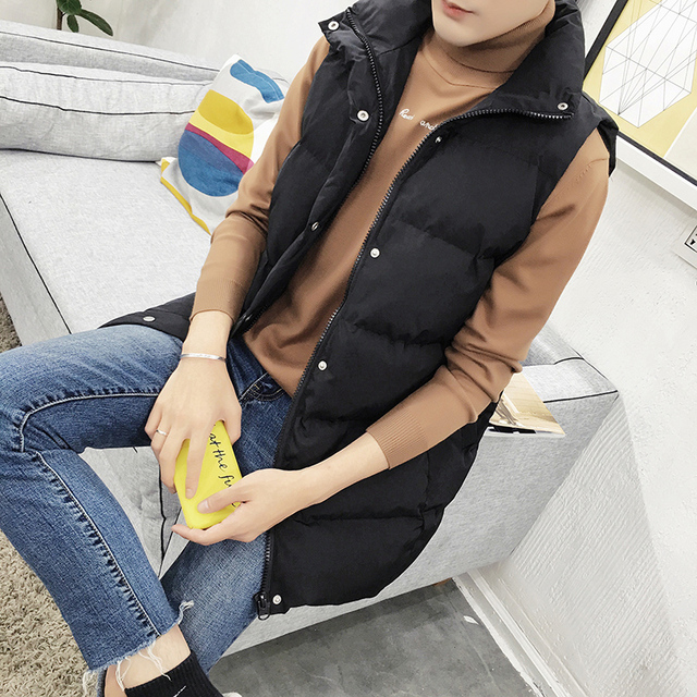 Hot 2016 Band New men Long Section Cotton Padded Winter Autumn Waistcoats Casual Solid Color Hooded Sleeveless Cotton Jackets