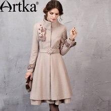 Женское шерстяное пальто artka элегантное с поясом и вышивкой
