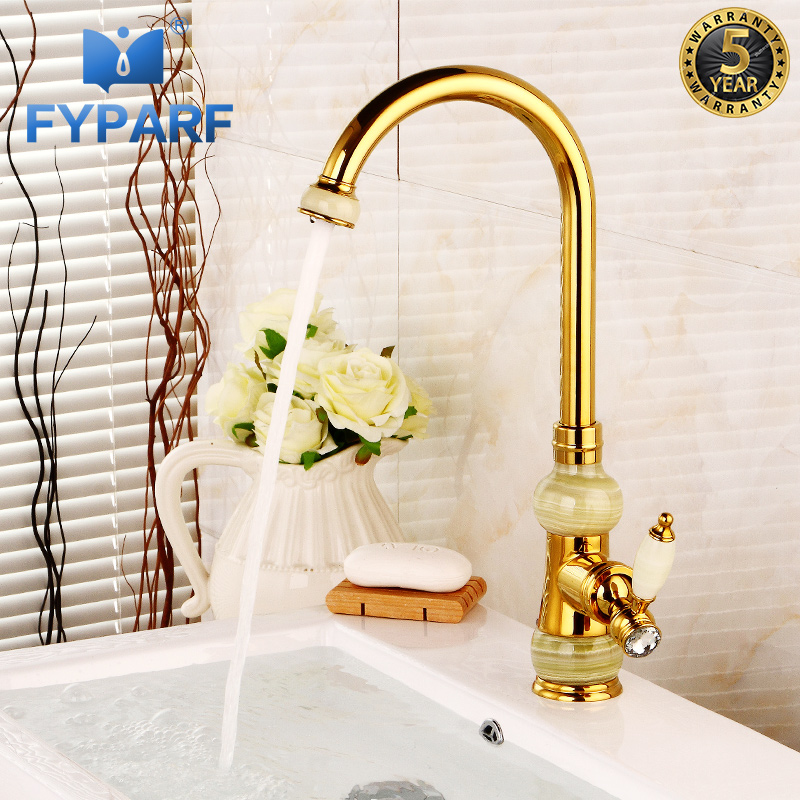 FYPARF Bathroom Sink Faucet Waterfall Basin Mixer Single Handle Rose Gold Sink Faucet Kitchen Deck Mount Sink Mixer Tap Faucet sink faucet