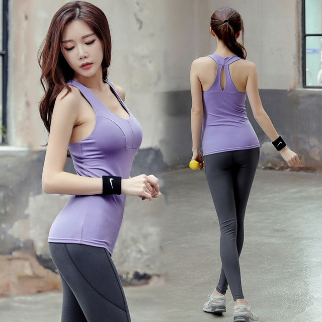 a1e3229880c2 2018 Leggins Sport Gym Elastic Summer Workout Clothes Jacket Quick-drying  Running Yoga Sports Pants Two Sets Of Female