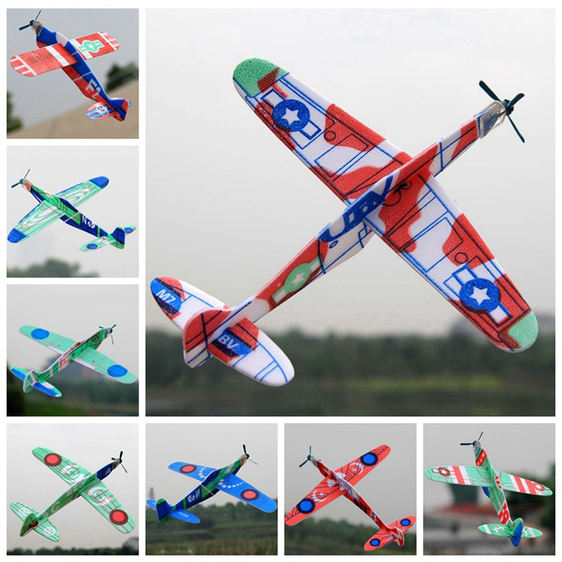 Foam Airplane Toys For Children Bubble Gliding Small Airplane Aviation Model Children Toy Glider Random Colors Outdoor Game Toys