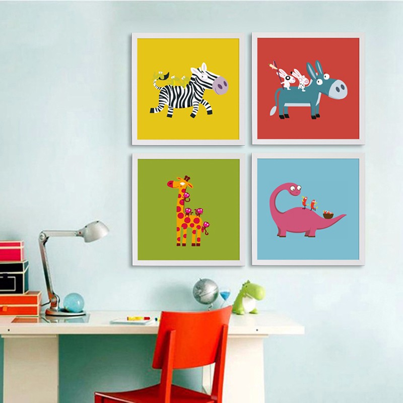 Cartoon Canvas Painting Art Animals Poster Modern Peacock Kids Room Home Decor Frames Not Included