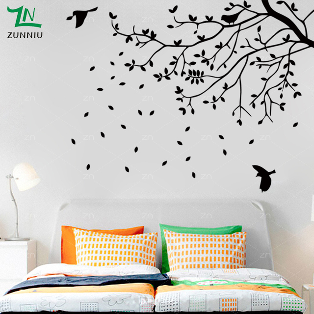 Large Tree Bird Vinyl Wall Sticker Bedroom Living Room Kids Rooms Branch  Leaves Wall Decals Art