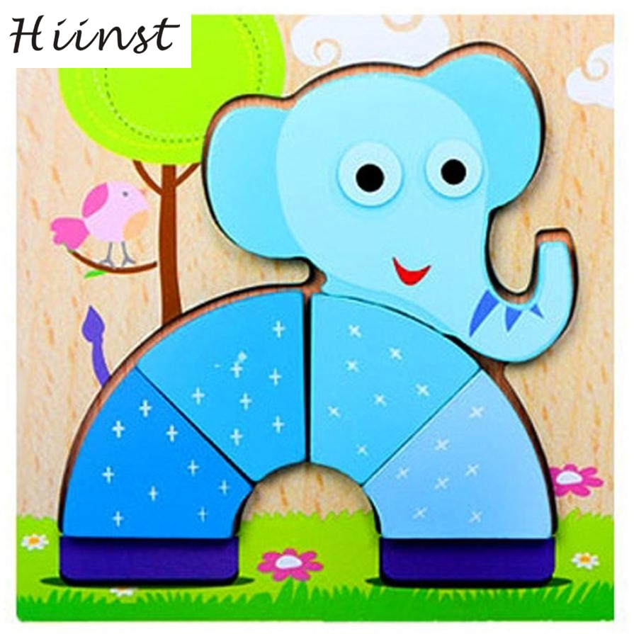 HIINST kids toys 2017 3 years Kids Multicolor Jigsaw Hand Grasping Puzzle Board Cartoon Wood Three-Dimensional Puzzle Toy*R Drop