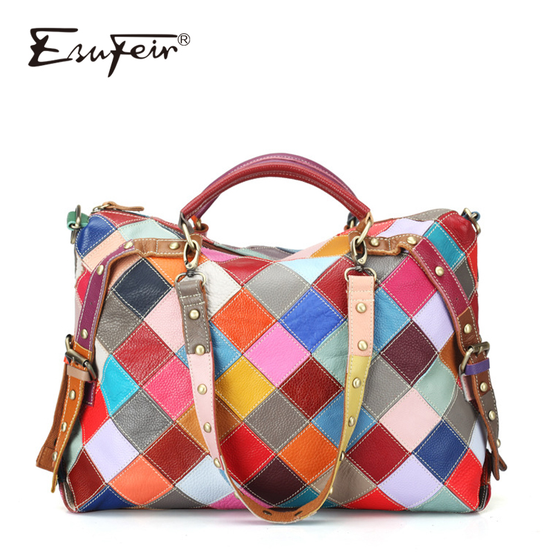 ESUFEIR Brand 100% Genuine leather Women Handbag Colorful Natural Leather Patchwork Shoulder Bag Large Capacity Casual Tote Bags esufeir 2018 100% genuine leather women handbag cow leather multi shoulder bag casual colourful patchwork women bag tote kj055