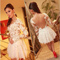 Free Shipping 2015 White Lace Appliqued Long Sleeve Short Cocktail Party Dresses Backless See Through Sexy Vestidos De Fiesta