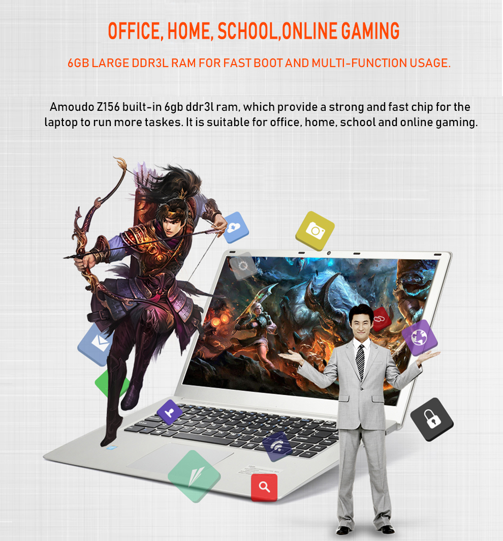 AMOUDO 15 6inch 1920X1080P FHD 6GB RAM 500GB/1TB HDD Intel Quad Core  Windows 10 System Notebook Computer Laptop-in Laptops from Computer &  Office on