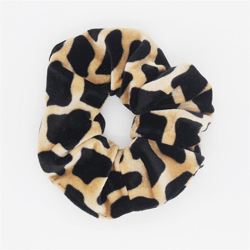 Soft Animal Pring Leopard Velvet Hair Scrunchie Ponytail Grip Loop Holder Stretchy Elastic Hair band for women Hair Accessories