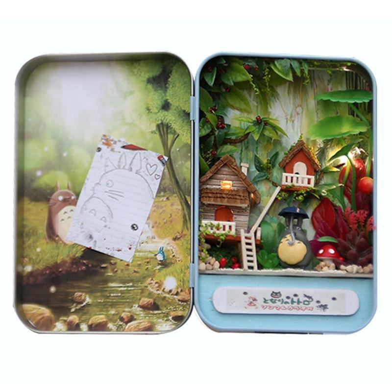 Totoro Jungle Tijd Monteren Kits Gift Poppenhuis Miniatuur Box Theater Handgemaakte Thema Creatieve Diy Leuke Kamer Art Handwerk Gift Aantrekkelijke Mode