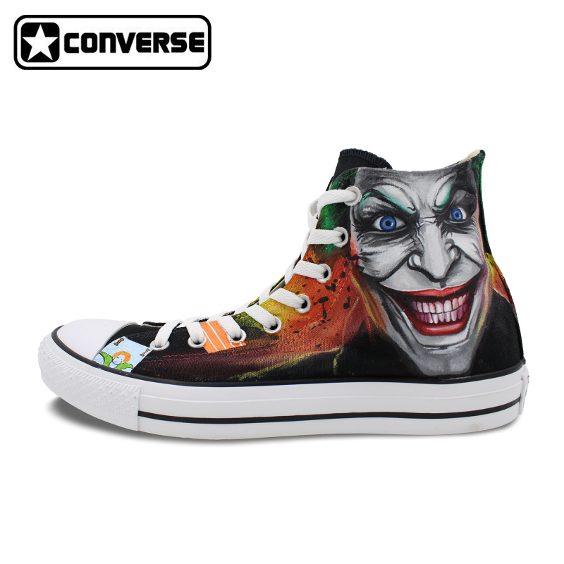 Women Men Sneakers Man Woman Converse Batman Joker Design Hand Painted Shoes High Top Unique Canvas Skateboarding Shoes Gifts sneakers men women converse all star anime fairy tail galaxy design custom hand painted shoes man woman christmas gifts