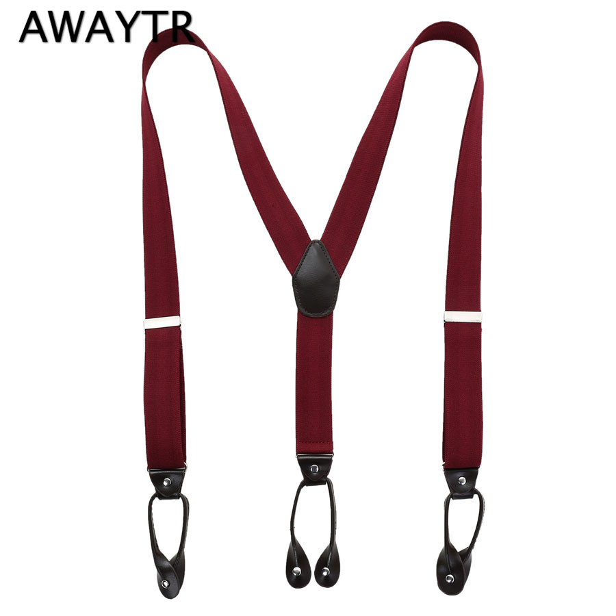AWAYTR Fashion Man's Buttons Suspenders Unisex 6 Button Holes Leather Fittings Braces Y-Back Red Wine Ligas Tirantes 3.5*110 Cm
