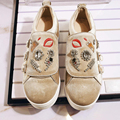 2017 New fashion superstar crystal brand casual shoes round toe embroidery increased sweet loafer buckle wholesale woman shoes