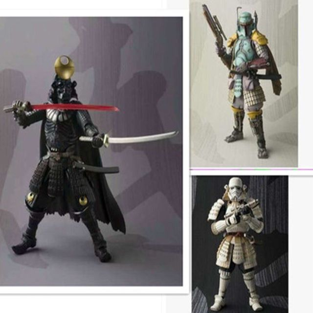 Con caja original de Star Wars Darth Vader Stormtrooper Figuras de Acción modelo Samurai Taisho 17 cm Star Wars Boba Fett Sic juguetes