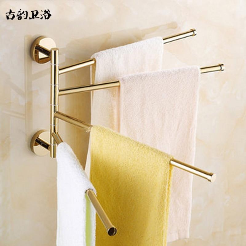 Towel Racks 4 Tiers Bars Golden Antique Brass Towel Holder Bath Rack Active Rails Hanger Bathroom Accessories Wall Shelf Xb123