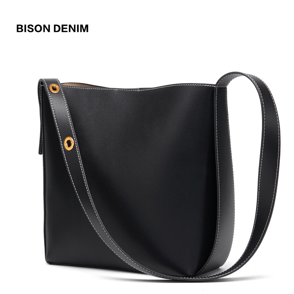 BISON DENIM Cow Leather Bags for women 2019 Bucket Bag Female Genuine Leather iPad Shoulder Bag