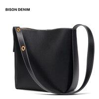 BISON DENIM Cow Leather Bags for women 2019 Bucket Bag Female Genuine Leather iPad Shoulder Bag 2 Sets Crossbody Bag purse N1620