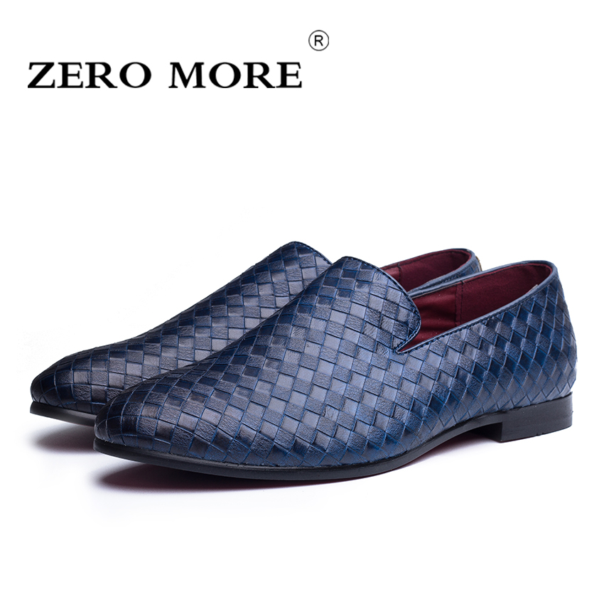 ZERO MORE PU Leather Weave Men Loafers Casual Slip On Men Flat Shoes Soft and Breathable Men Shoes size 38-44 #ZM104 branded men s penny loafes casual men s full grain leather emboss crocodile boat shoes slip on breathable moccasin driving shoes